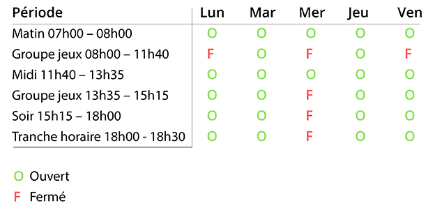 horaires AES